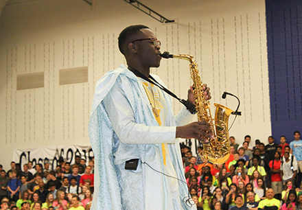 Lone Star Student Performs at Pep Rally