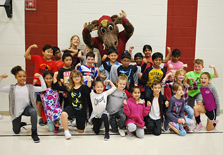 Bull Moose with Students at Hosp Elementary